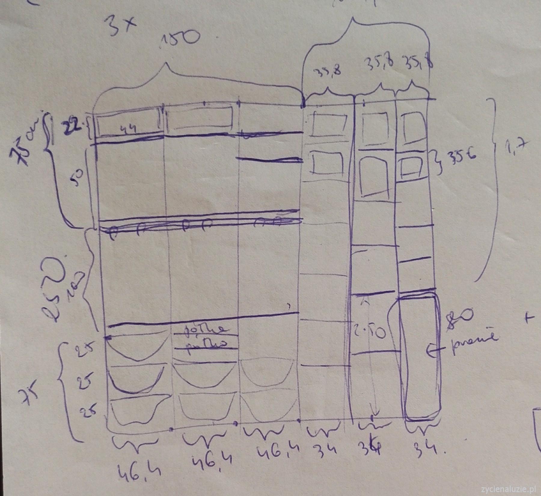 Projekt szafy - wymiary